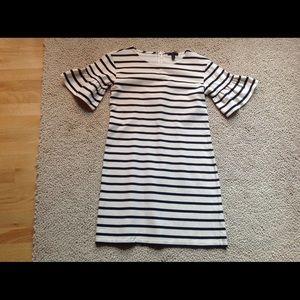 J Crew Ruffled Stripe Sleeve Shift Dress